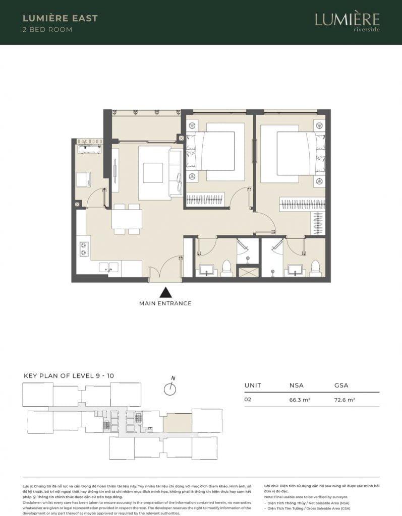 Thiết kế căn hộ 2PN – căn số 2 tầng 9-10