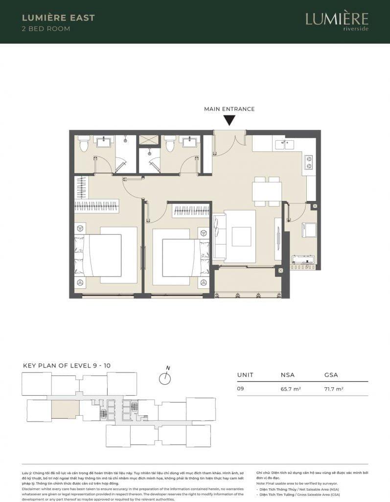 Thiết kế căn hộ 2PN – căn số 9 tầng 9-10