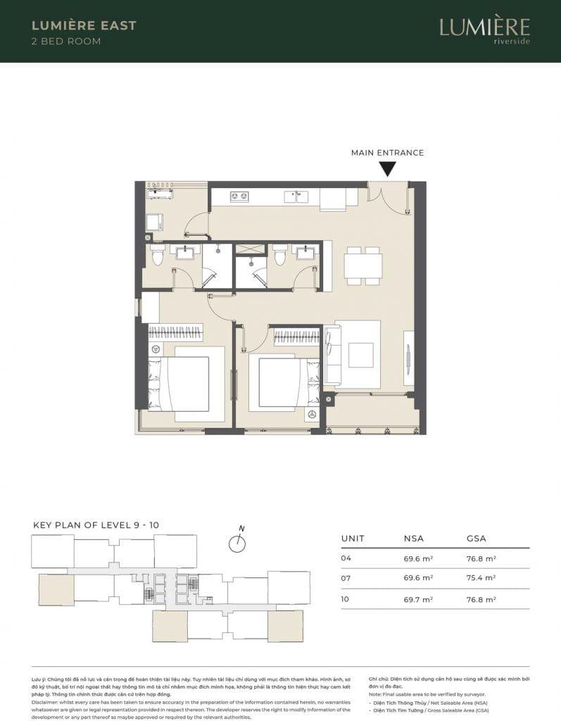 Thiết kế căn hộ 2PN – căn số 4, 7, 10 tầng 9-10