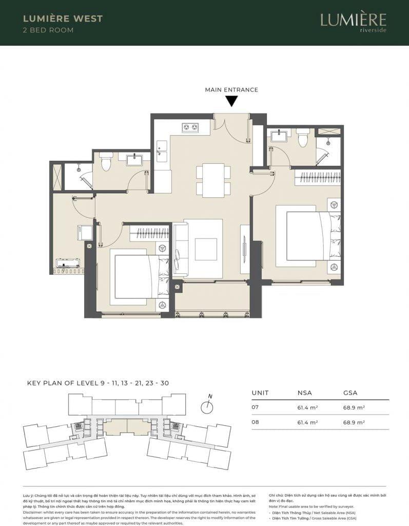 Thiết kế căn hộ 2PN – căn số 7, 8 tầng 9-11, 13-21, 23-30
