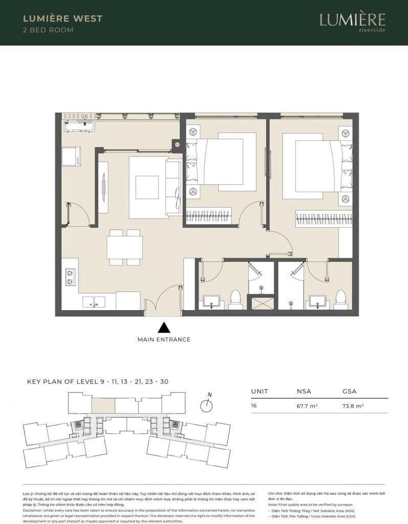 Thiết kế căn hộ 2PN – căn số 16 tầng 9-11, 13-21, 23-30