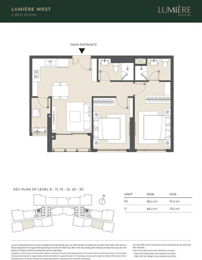 Thiết kế căn hộ 2PN – căn số 4, 11 tầng 9-11, 13-21, 23-30