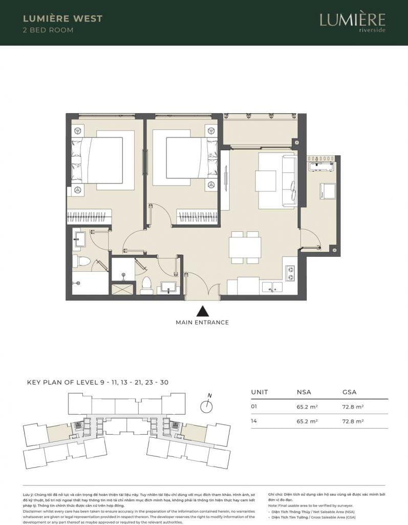 Thiết kế căn hộ 2PN – căn số 1, 14 tầng 9-11, 13-21, 23-30