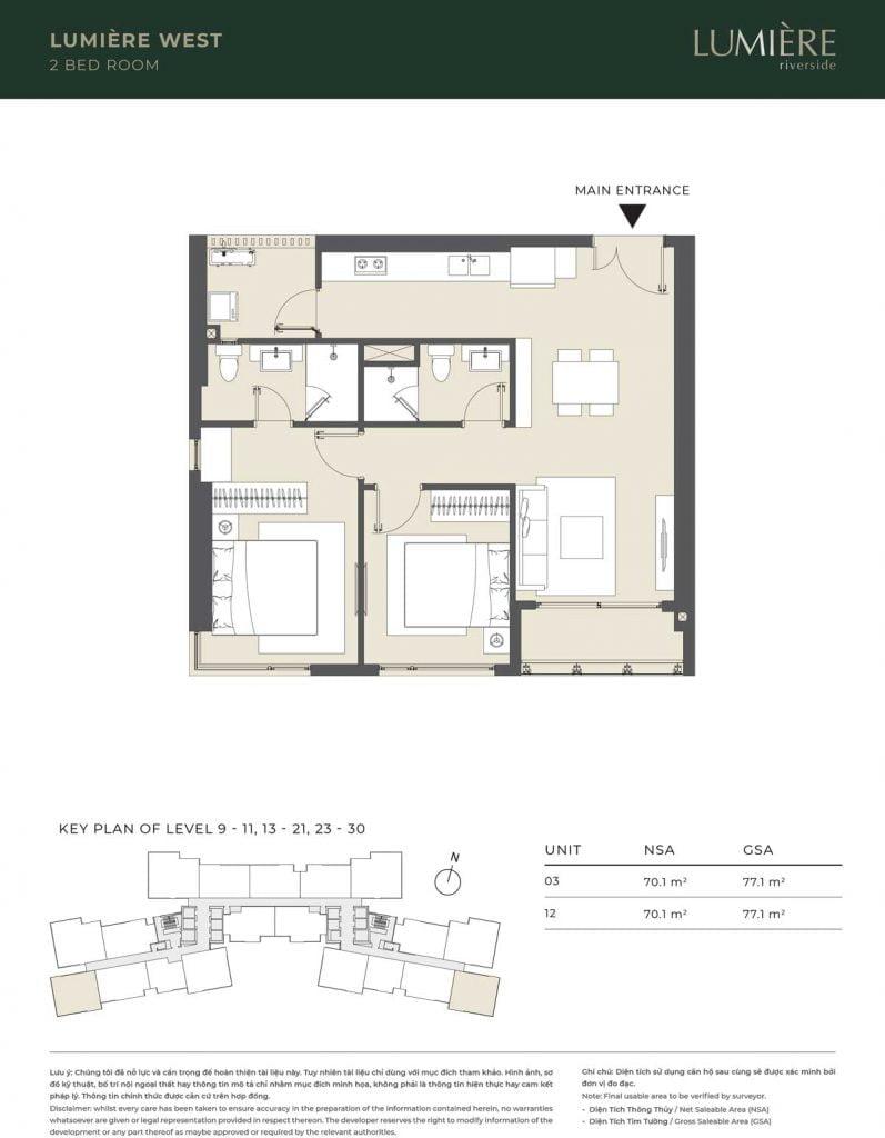 Thiết kế căn hộ 2PN – căn số 3, 12 tầng 9-11, 13-21, 23-30