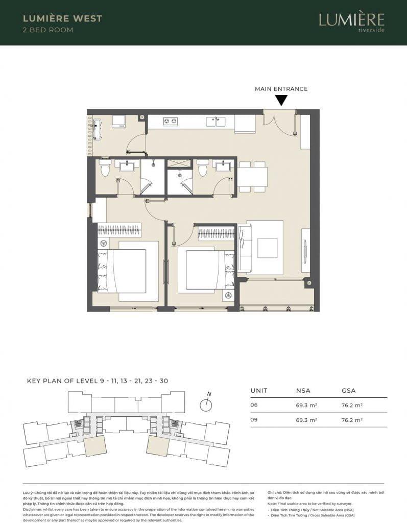 Thiết kế căn hộ 2PN – căn số 6, 9 tầng 9-11, 13-21, 23-30