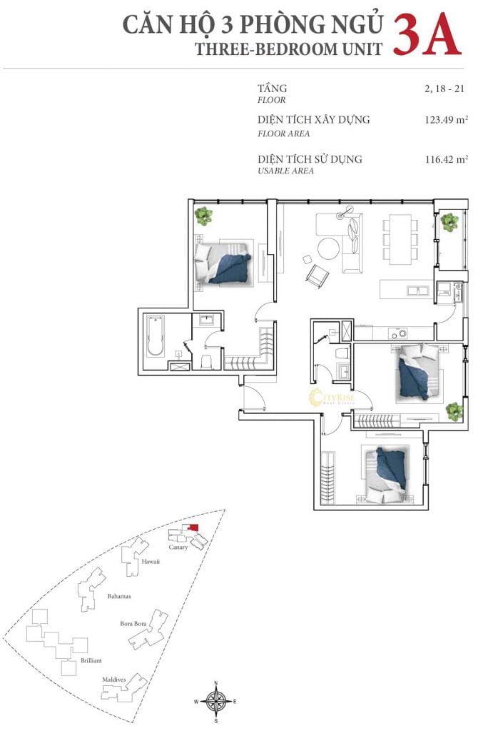 Thiết kế căn hộ 3PN - 3A tháp Canary