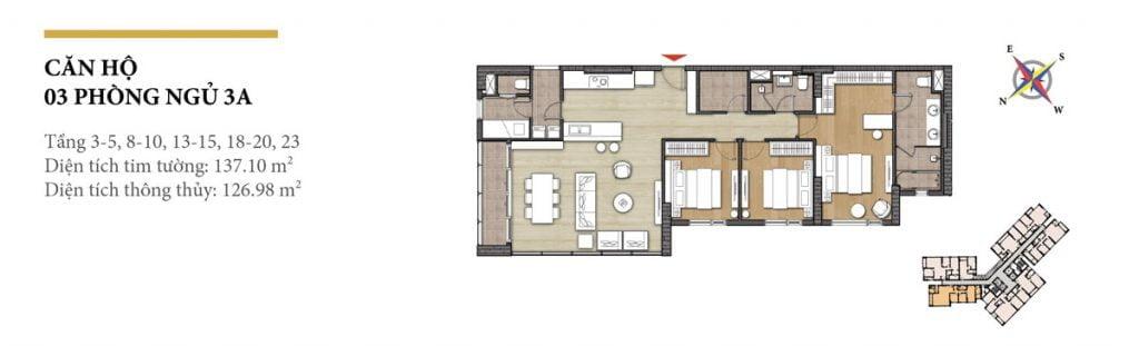 Thiết kế căn hộ 3PN - 3A tháp Hawaii