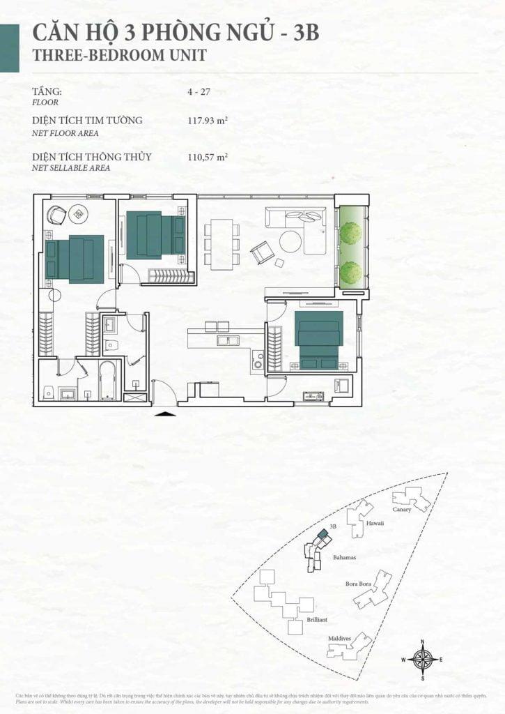 Thiết kế căn hộ 3PN - 3B tháp Bahamas