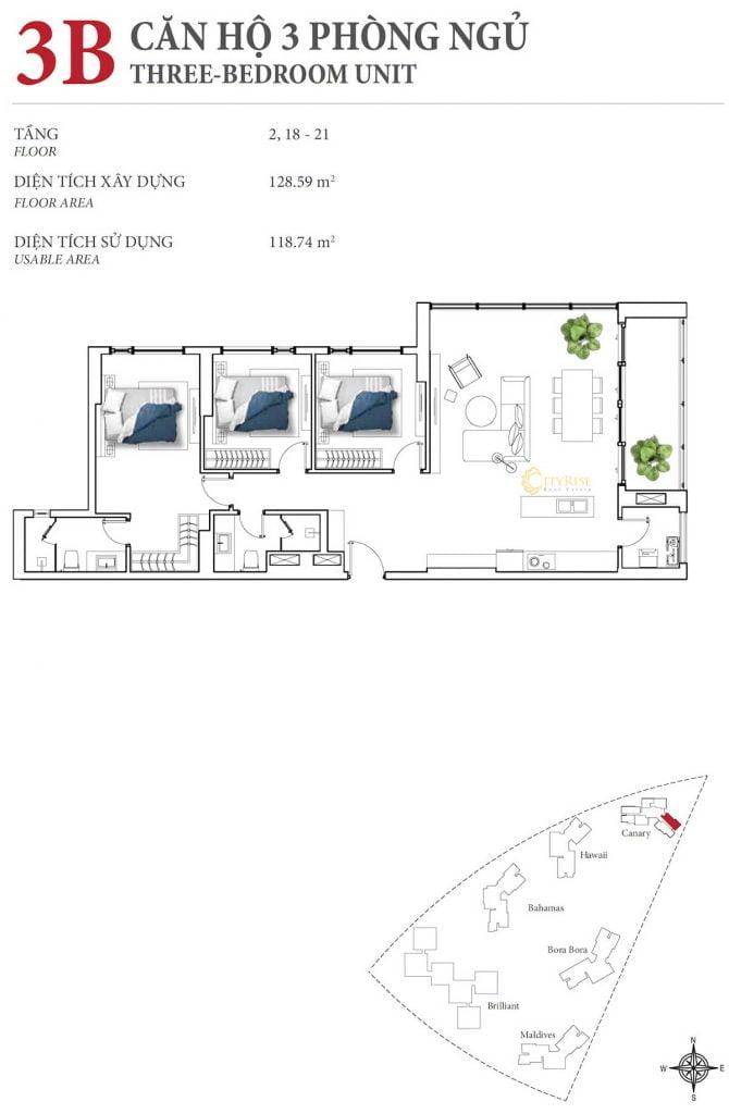 Thiết kế căn hộ 3PN - 3B tháp Canary