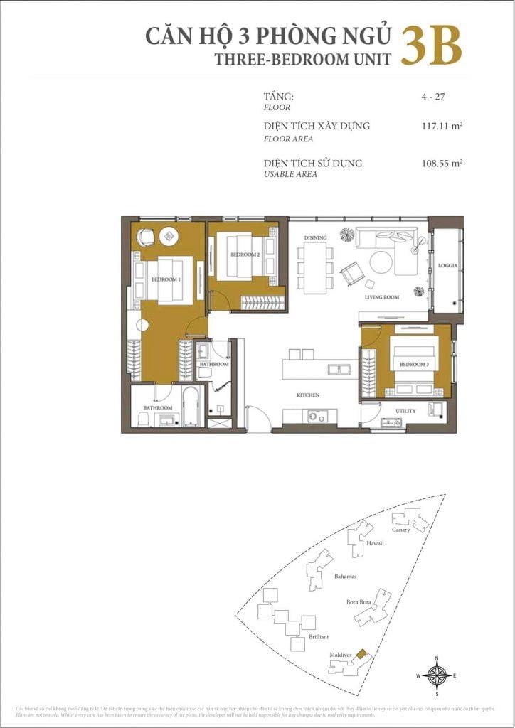 Thiết kế căn hộ 3PN - 3B tháp Maldives