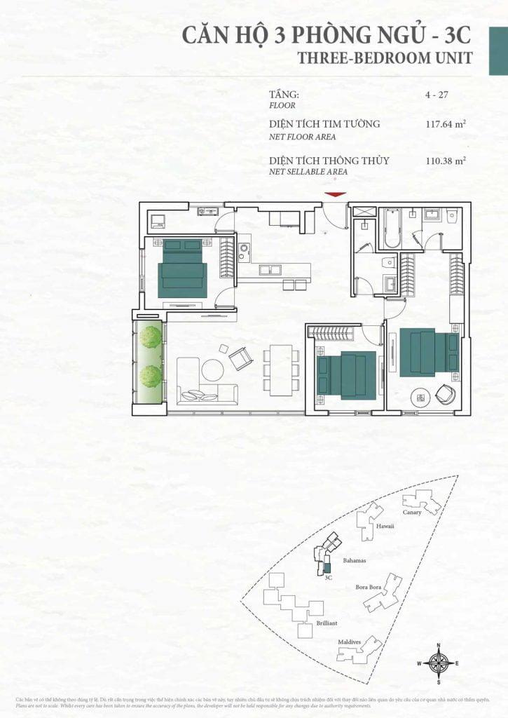 Thiết kế căn hộ 3PN - 3C tháp Bahamas