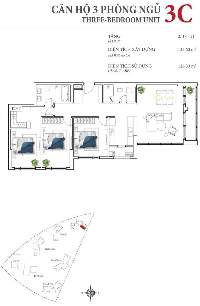 Thiết kế căn hộ 3PN - 3C tháp Canary
