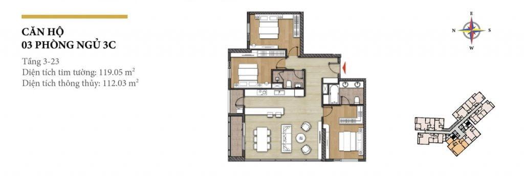 Thiết kế căn hộ 3PN - 3C tháp Hawaii