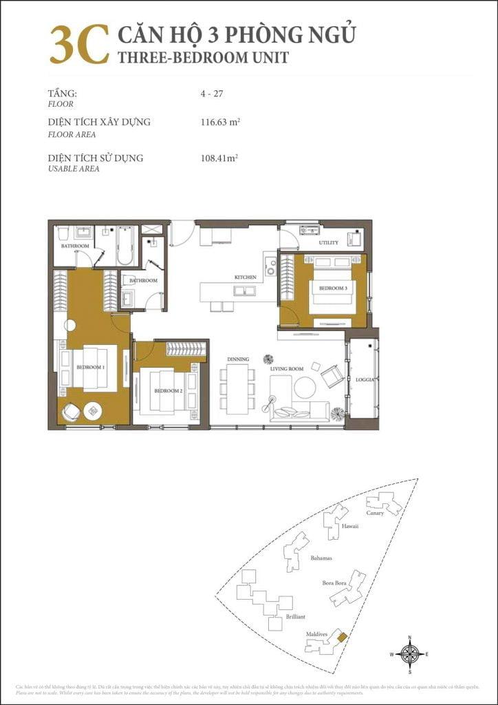Thiết kế căn hộ 3PN - 3C tháp Maldives