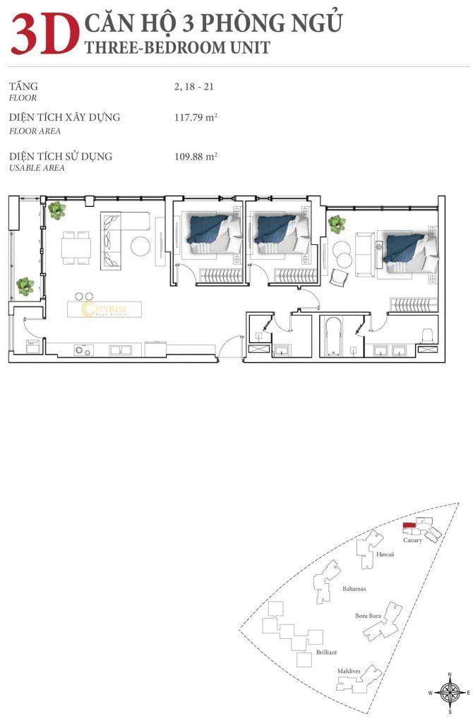 Thiết kế căn hộ 3PN - 3D tháp Canary