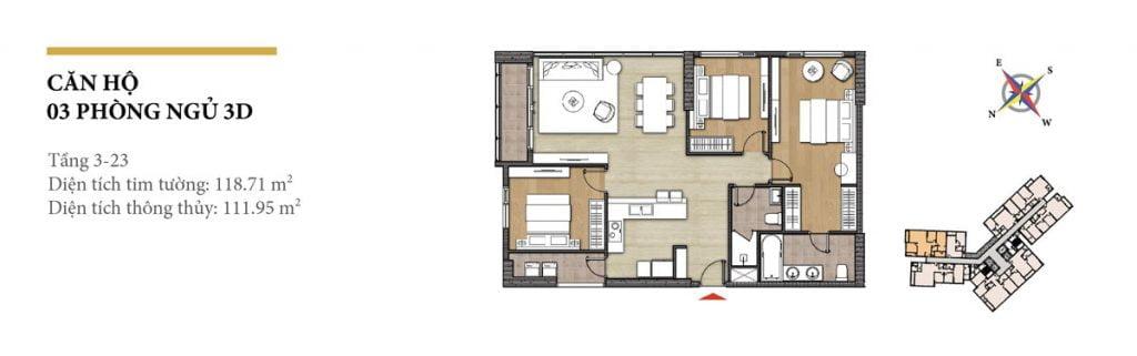 Thiết kế căn hộ 3PN - 3D tháp Hawaii