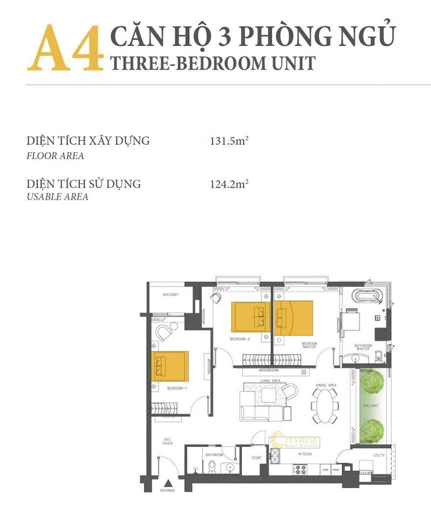 Thiết kế căn hộ 3PN - A4 tháp Brilliant