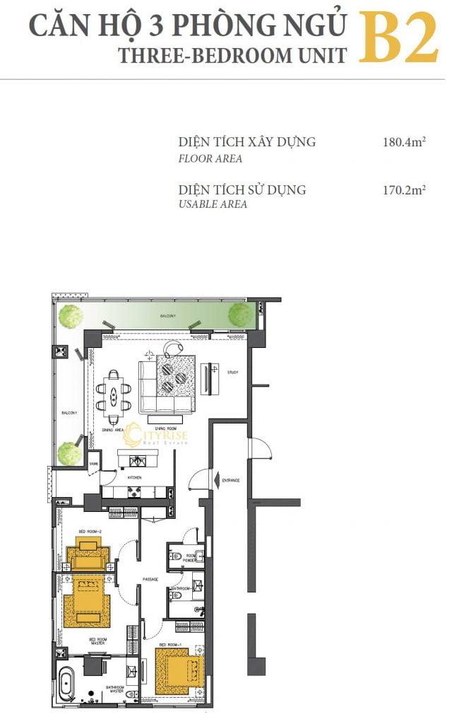Thiết kế căn hộ 3PN - B2 tháp Brilliant