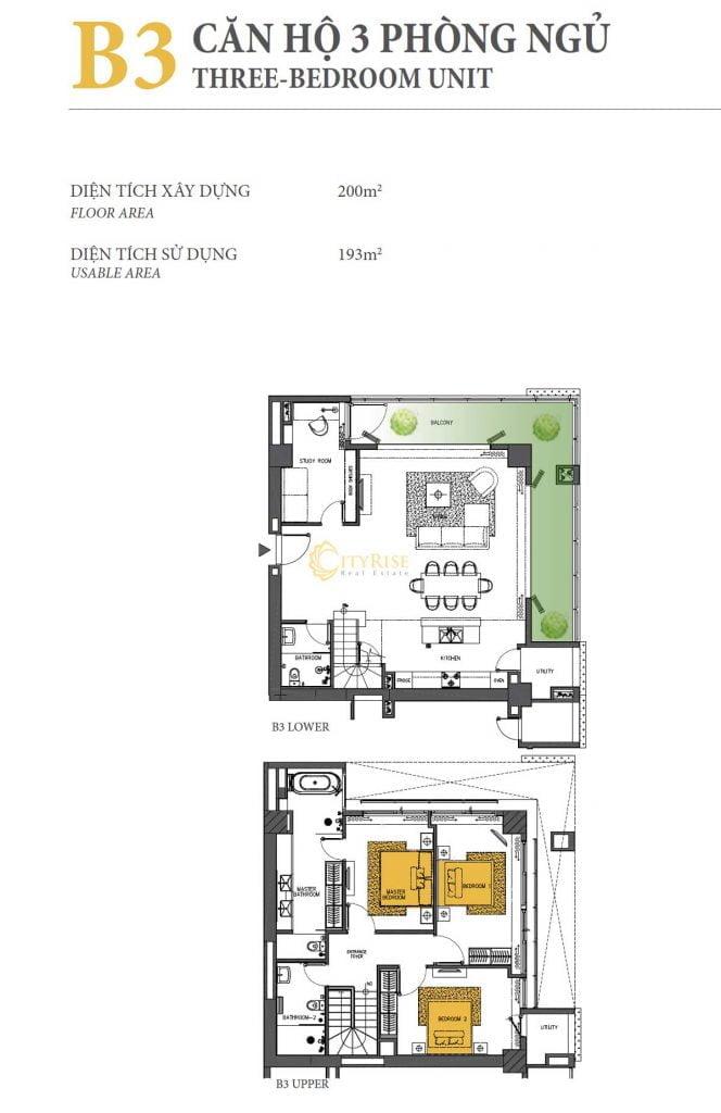 Thiết kế căn hộ 3PN - B3 tháp Brilliant