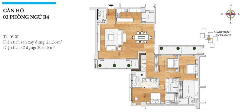 Thiết kế căn hộ 3PN - B4 tháp Brilliant