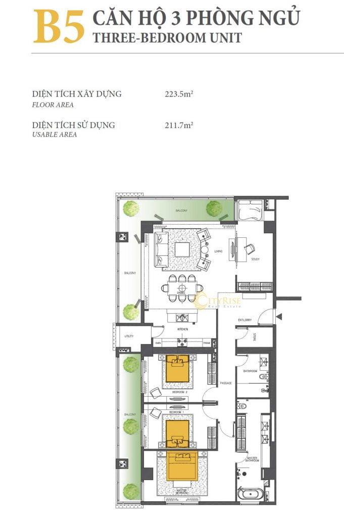 Thiết kế căn hộ 3PN - B5 tháp Brilliant