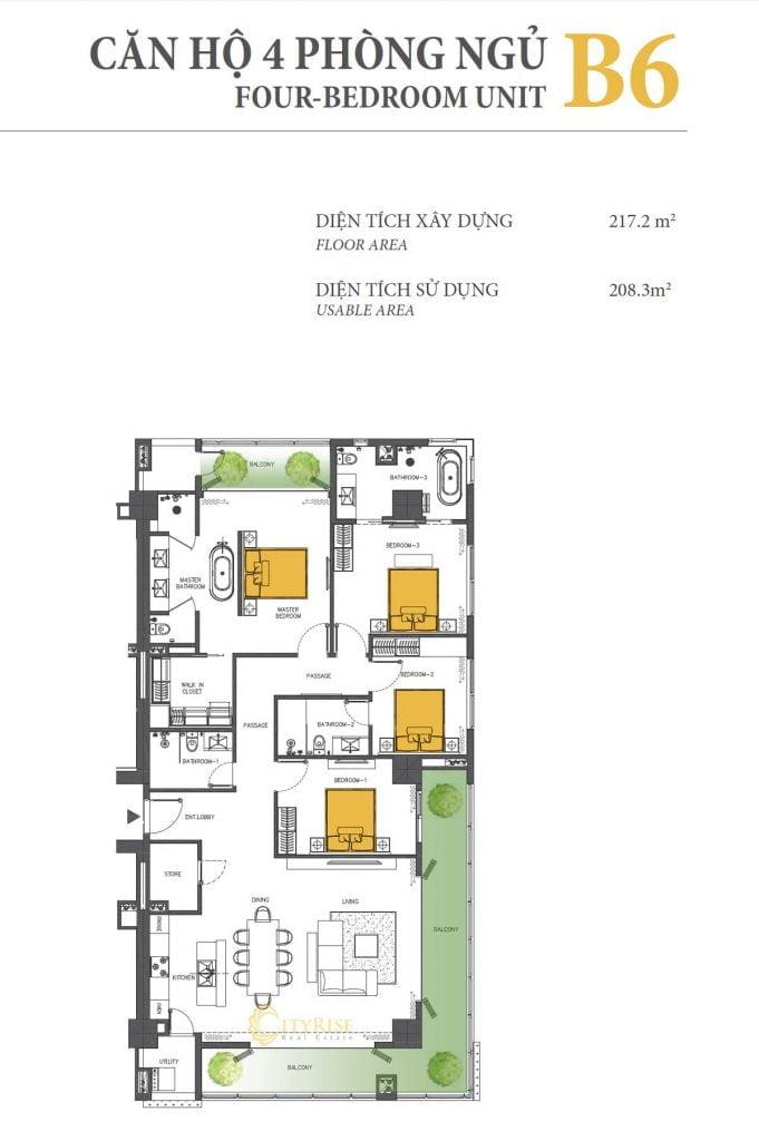 Thiết kế căn hộ 3PN - B6 tháp Brilliant