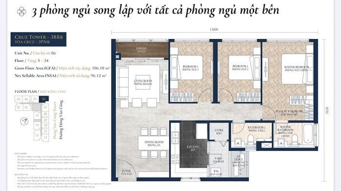 Căn hộ 3 phòng ngủ dự án Feliz en Vista