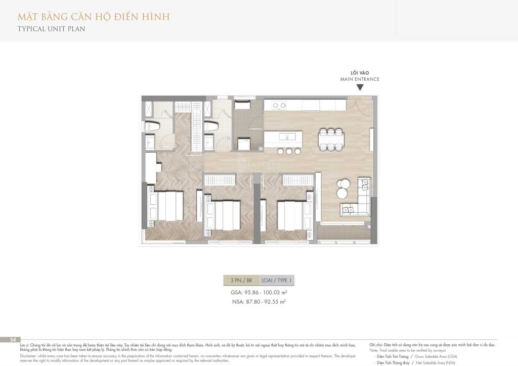 Thiết kế căn hộ 3PN loại 1