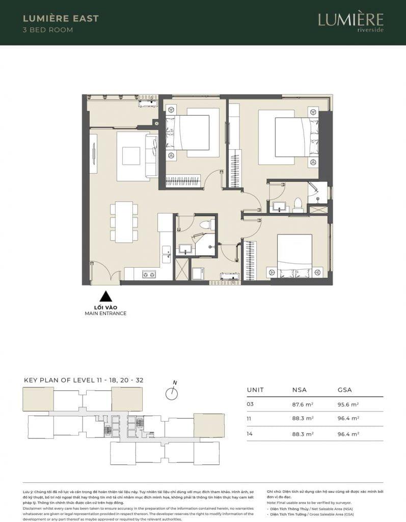 Thiết kế căn hộ 3PN - căn số 3, 11, 14 tầng 11-18, 20-32