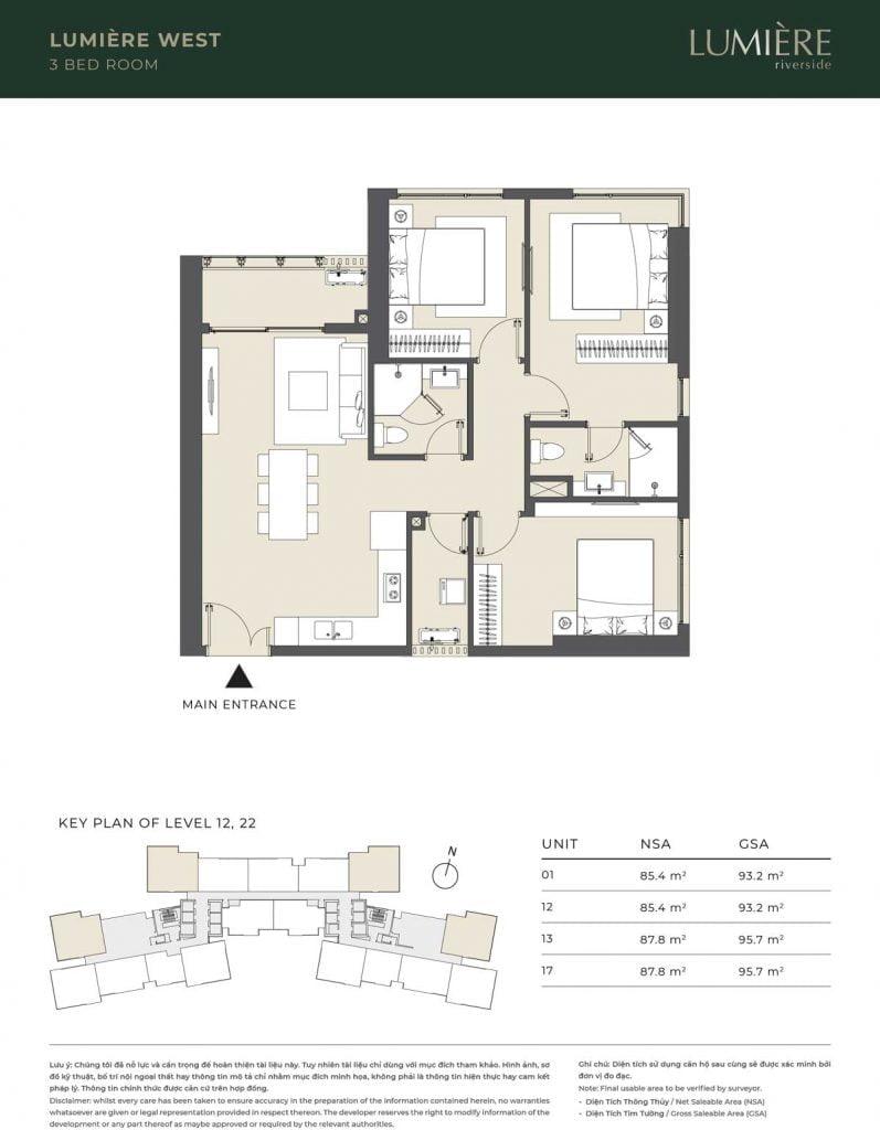 Thiết kế căn hộ 3PN – căn số 1, 12, 13, 17 tầng 12, 22