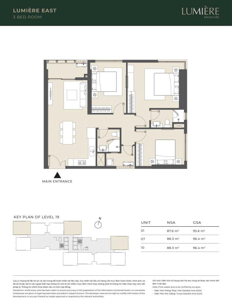 Thiết kế căn hộ 3PN - căn số 1, 7, 10 tầng 19