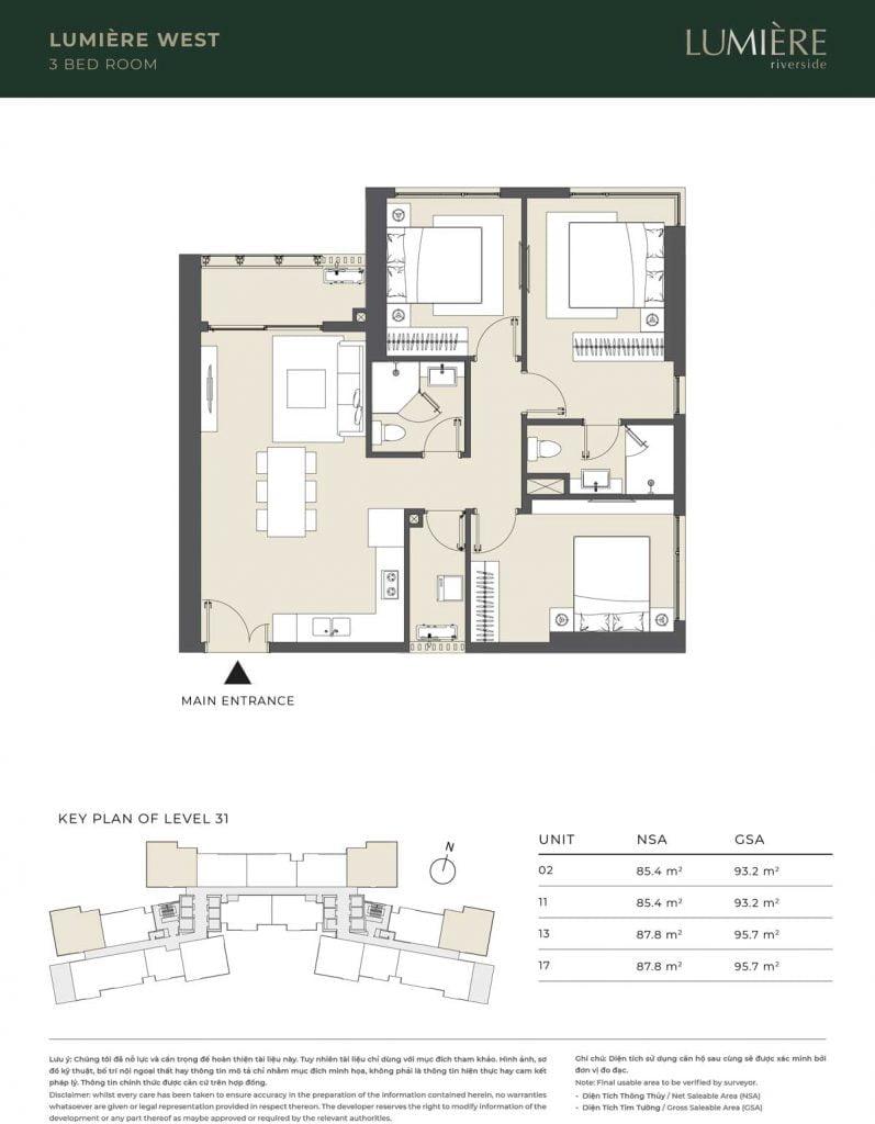 Thiết kế căn hộ 3PN – căn số 2, 11, 13, 17 tầng 31