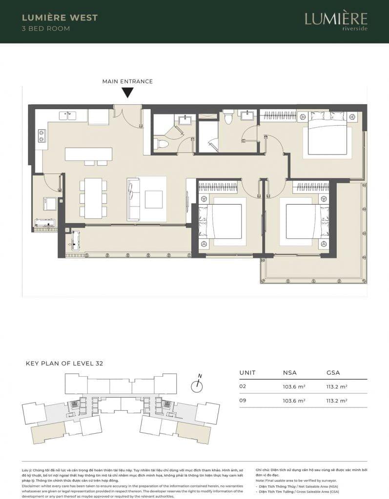 Thiết kế căn hộ 3PN – căn số 2, 9 tầng 32