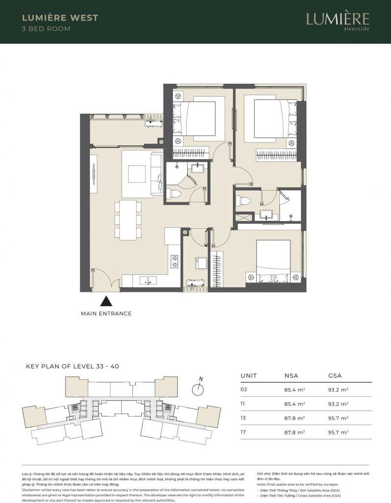 Thiết kế căn hộ 3PN – căn số 2, 11, 13, 17 tầng 33-40