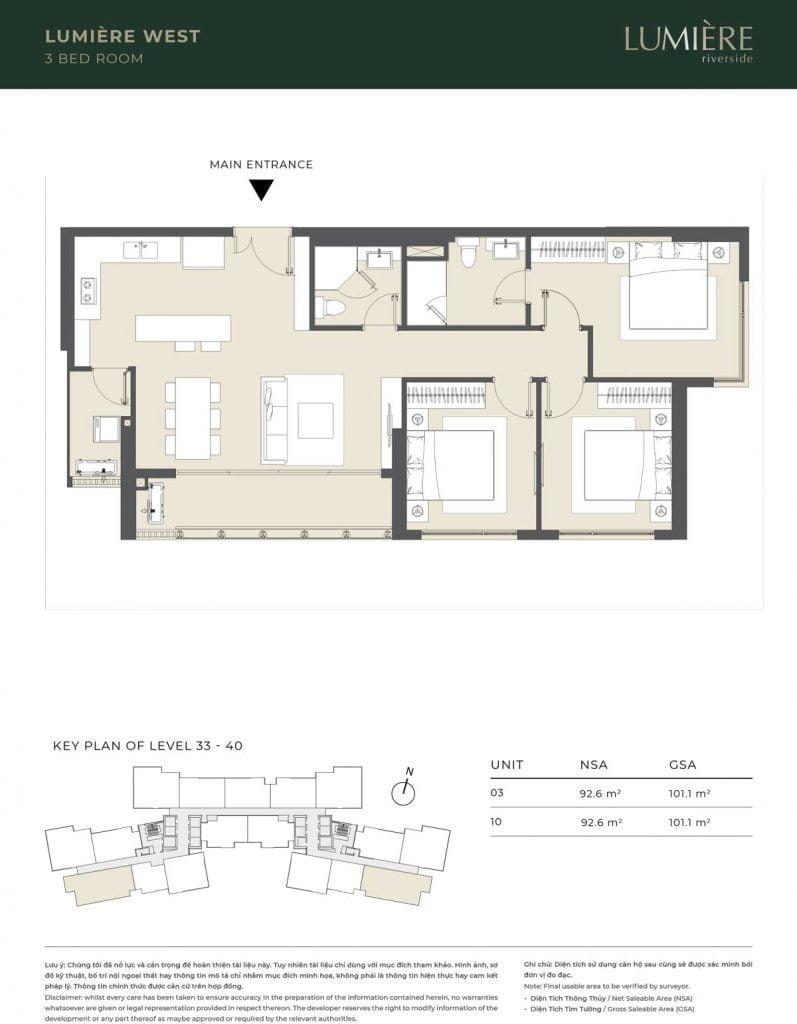 Thiết kế căn hộ 3PN – căn số 3, 10 tầng 33-40