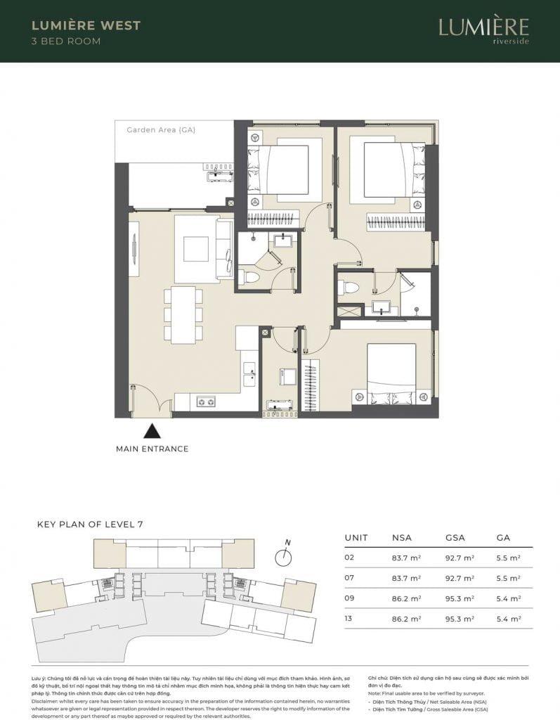 Thiết kế căn hộ 3PN – căn số 2, 7, 9, 13 tầng 7