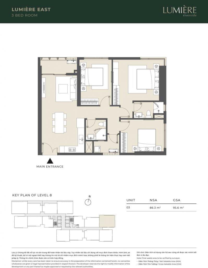 Thiết kế căn hộ 3PN - căn số 3 tầng 8