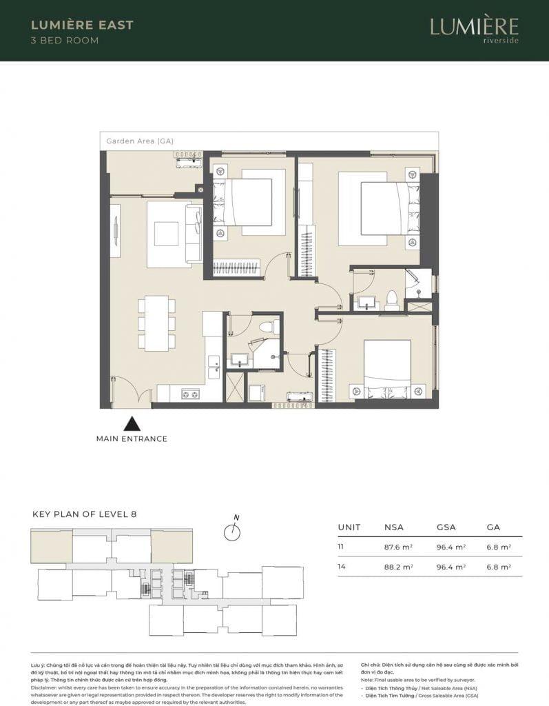 Thiết kế căn hộ 3PN - căn số 11, 14 tầng 8