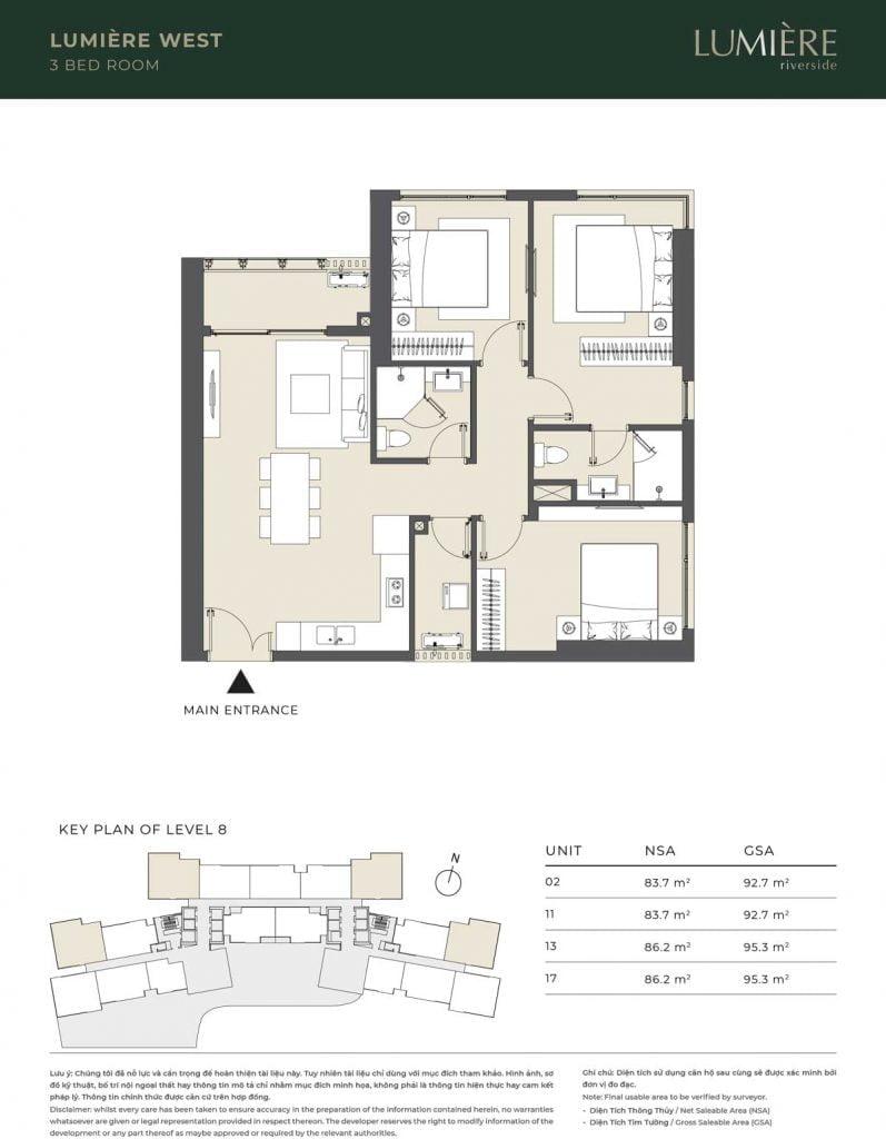 Thiết kế căn hộ 3PN – căn số 2, 11, 13, 17 tầng 8