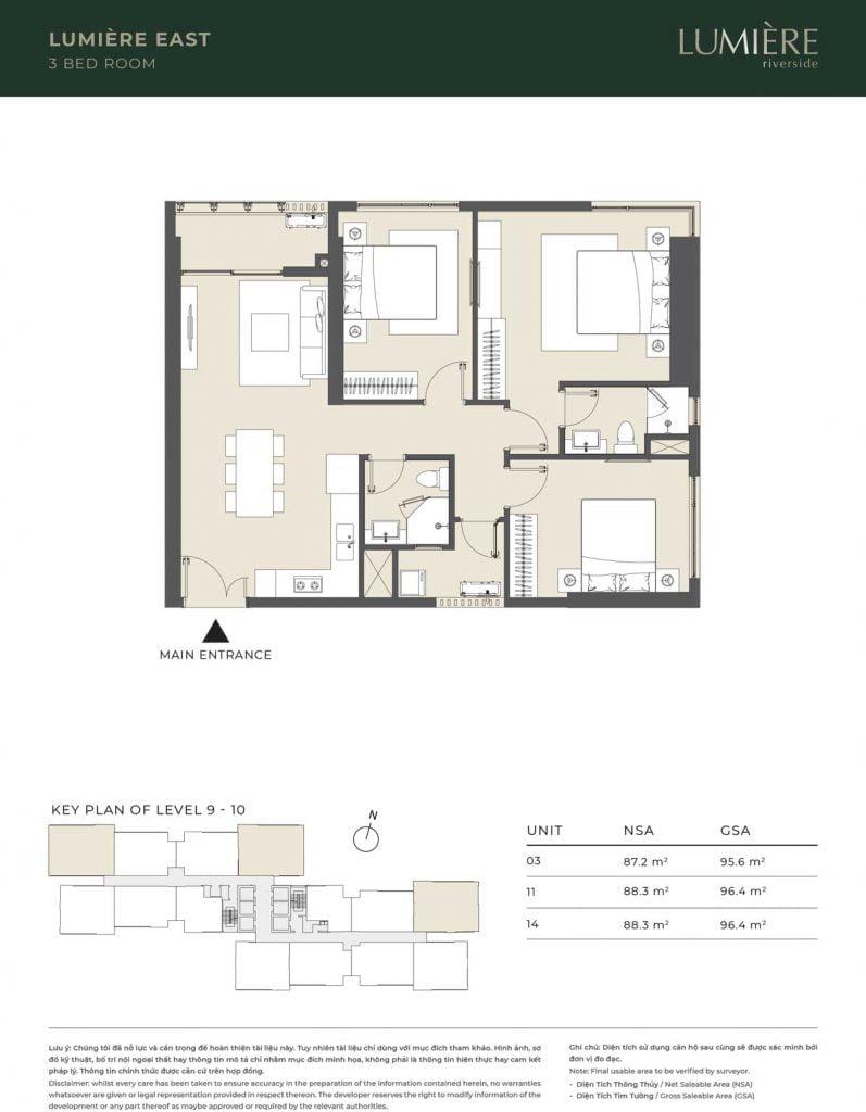 Thiết kế căn hộ 3PN – căn số 3, 11, 14 tầng 9-10