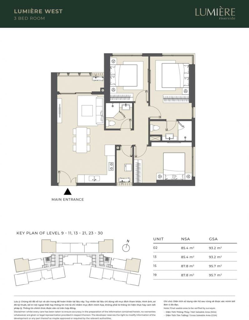 Thiết kế căn hộ 3PN – căn số 2, 13, 15, 19 tầng 9-11, 13-21, 23-30