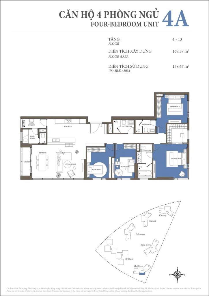 Thiết kế căn hộ 4PN - 4A tháp Maldives