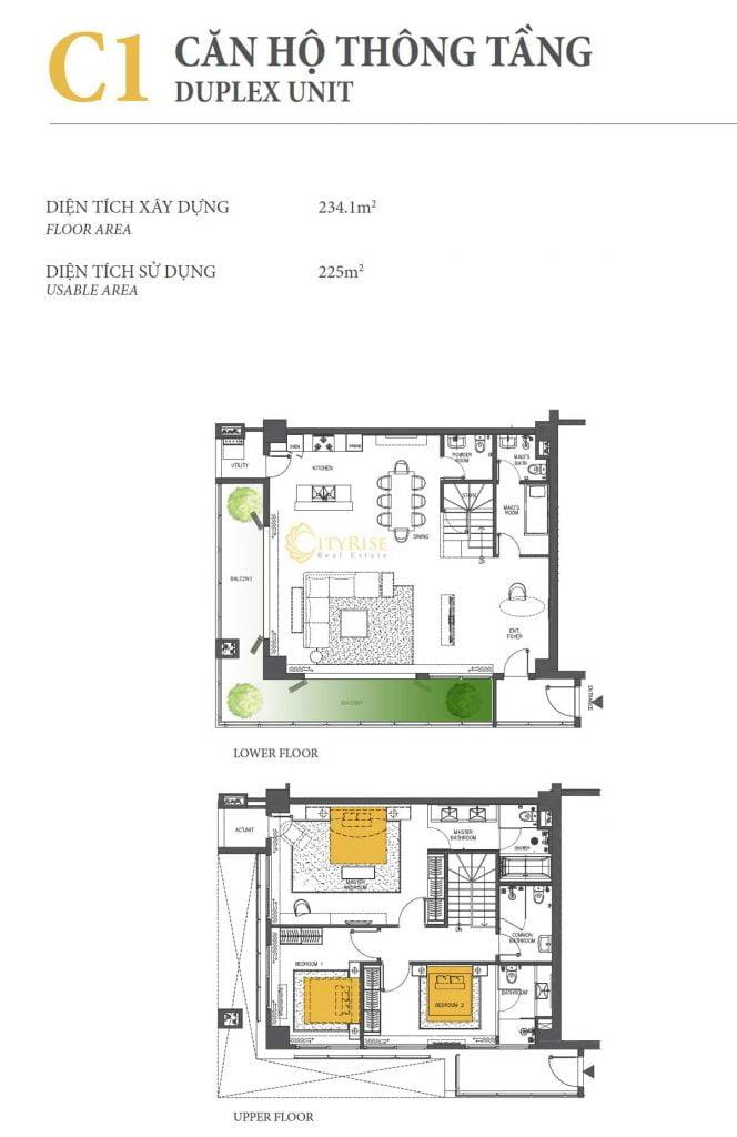 Thiết kế căn hộ Duplex - C1 tháp Brilliant