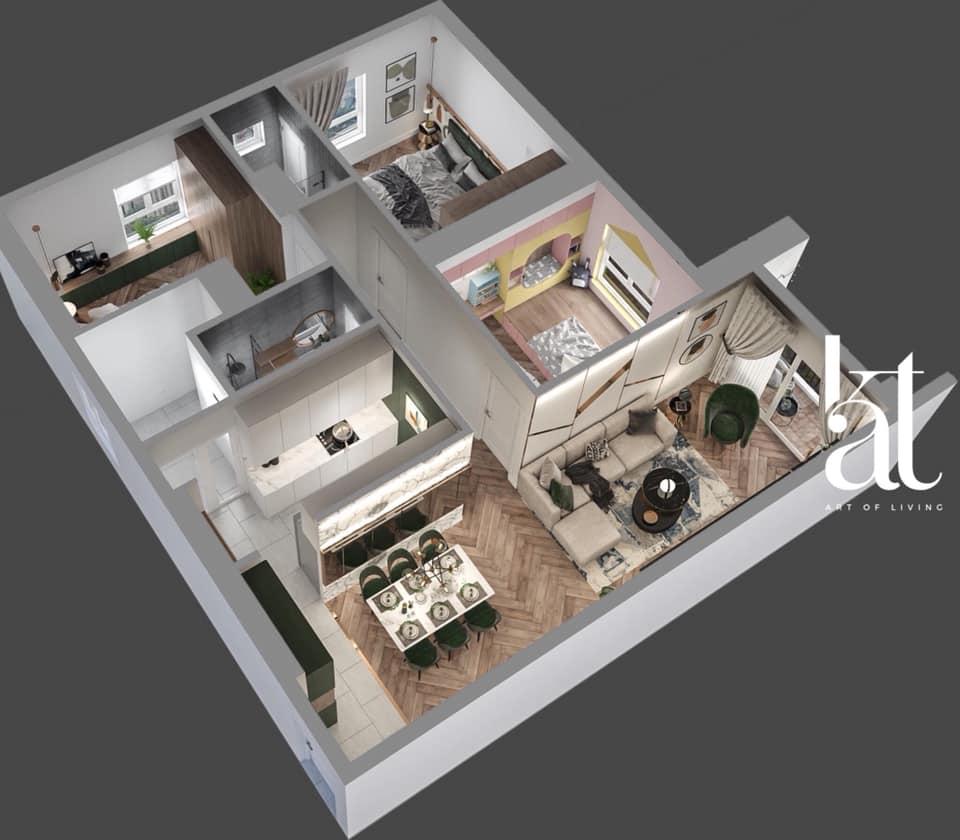 Phối cảnh tổng thể căn hộ mẫu 3PN
