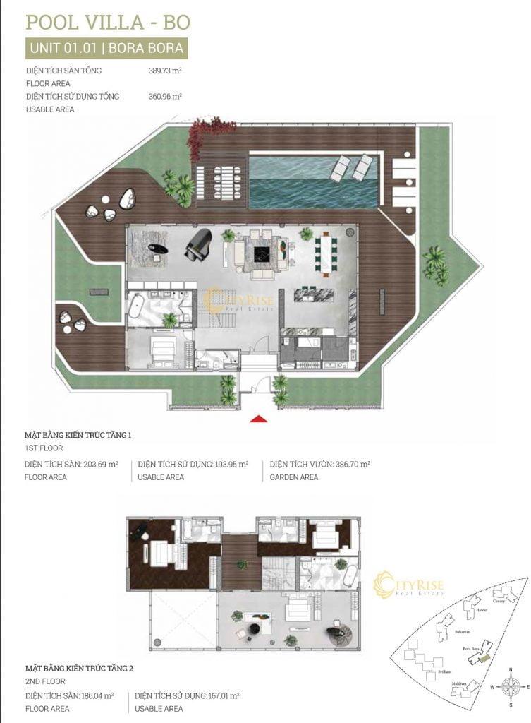 Thiết kế căn hộ Pool Villa (01.01) tháp Bora Bora