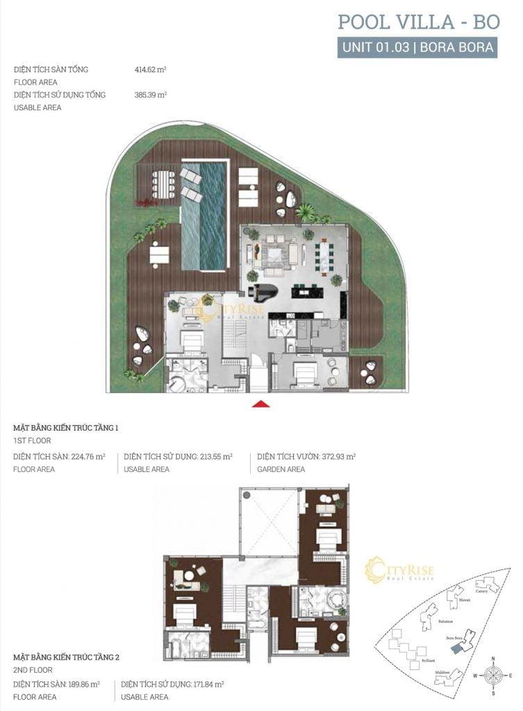 Thiết kế căn hộ Pool Villa (01.03) tháp Bora Bora