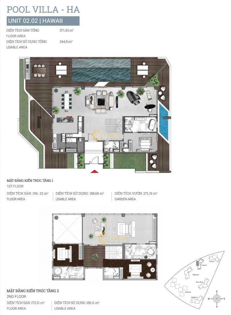 Thiết kế căn hộ Pool Villa (02.02) tháp Hawaii