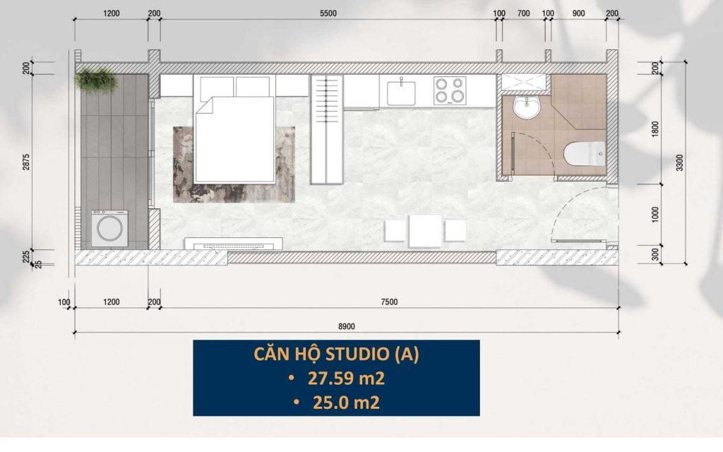 Thiết kế căn hộ Studio (A)