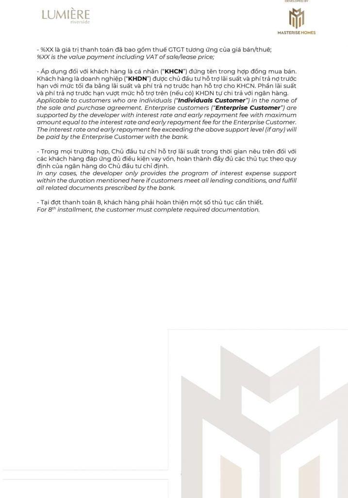 Chính sách bán hàng dự án Lumière Riverside