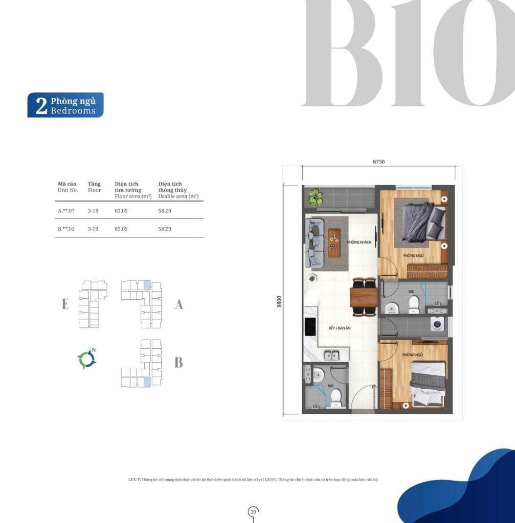 Thiết kế căn hộ 2PN loại B10 Lovera Vista
